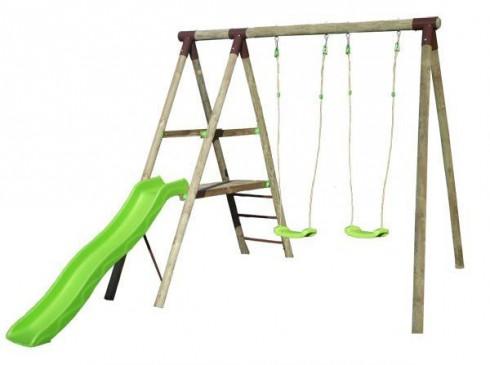 balancoire bois avec toboggan pas cher - cirque et balancoire