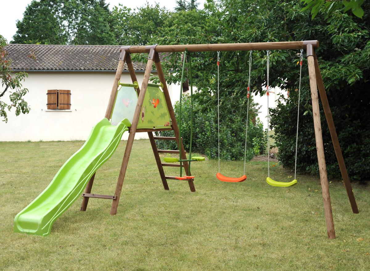 portique bois toboggan soulet cirque et balancoire. Black Bedroom Furniture Sets. Home Design Ideas