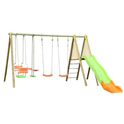 prix portique bois avec toboggan pas cher cirque et balancoire. Black Bedroom Furniture Sets. Home Design Ideas