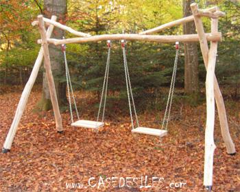 Balancoire 2 places bois abri de jardin et balancoire id e - Portique balancoire en fer ...