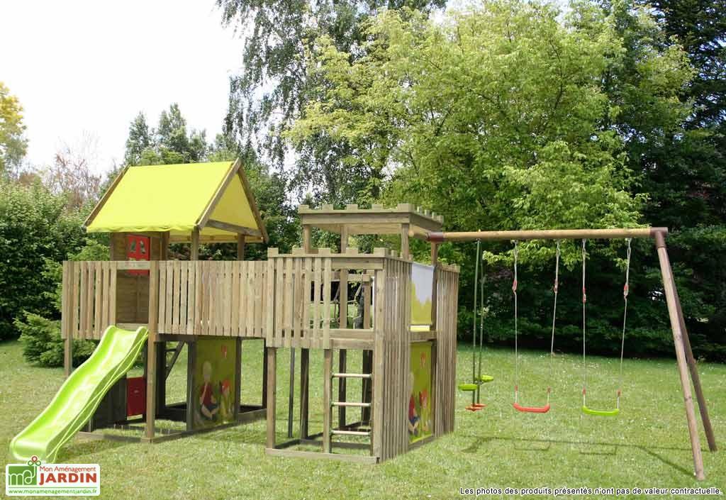 aire de jeux portique abri de jardin  balancoire idee