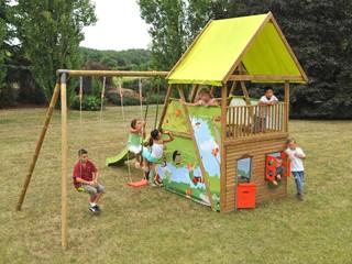 portique bois avec toboggan et cabane abri de jardin et balancoire id e. Black Bedroom Furniture Sets. Home Design Ideas