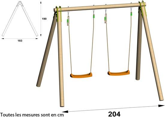 Portique balancoire une place - Abri de jardin et balancoire idée 8520d55c169f