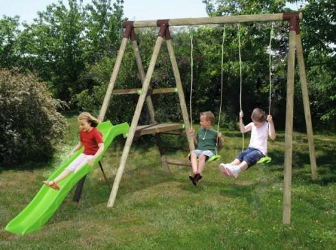 Balan oire portique bois abri de jardin et balancoire id e - Portique balancoire en fer ...