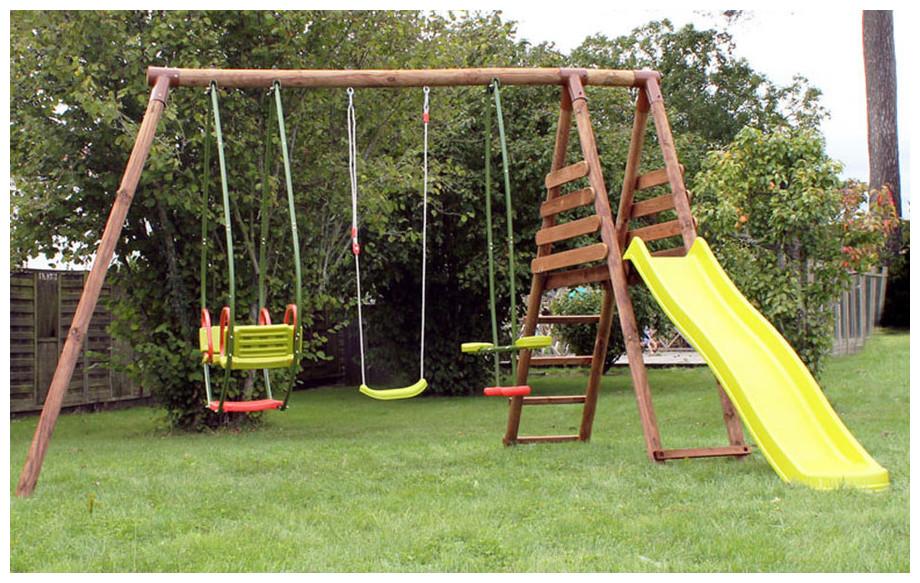 Balancoire toboggan en bois - Abri de jardin et balancoire idée 92e845be0034