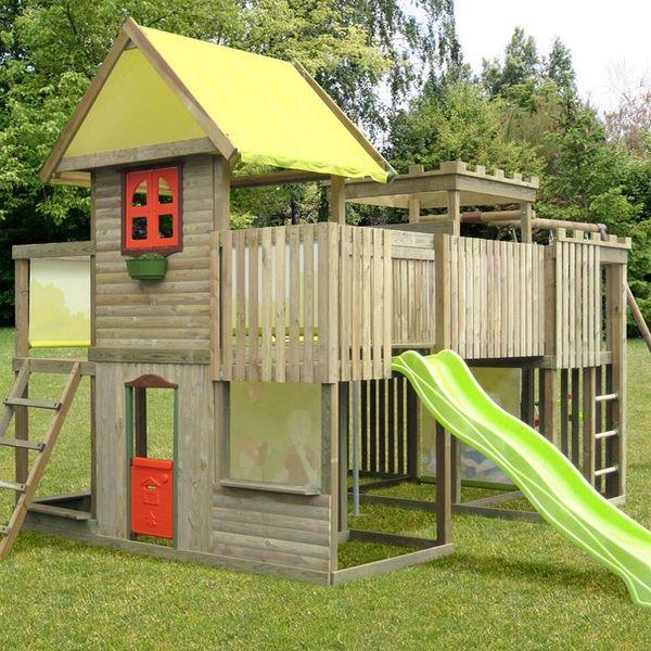 portique bois avec cabane abri de jardin et balancoire id e. Black Bedroom Furniture Sets. Home Design Ideas