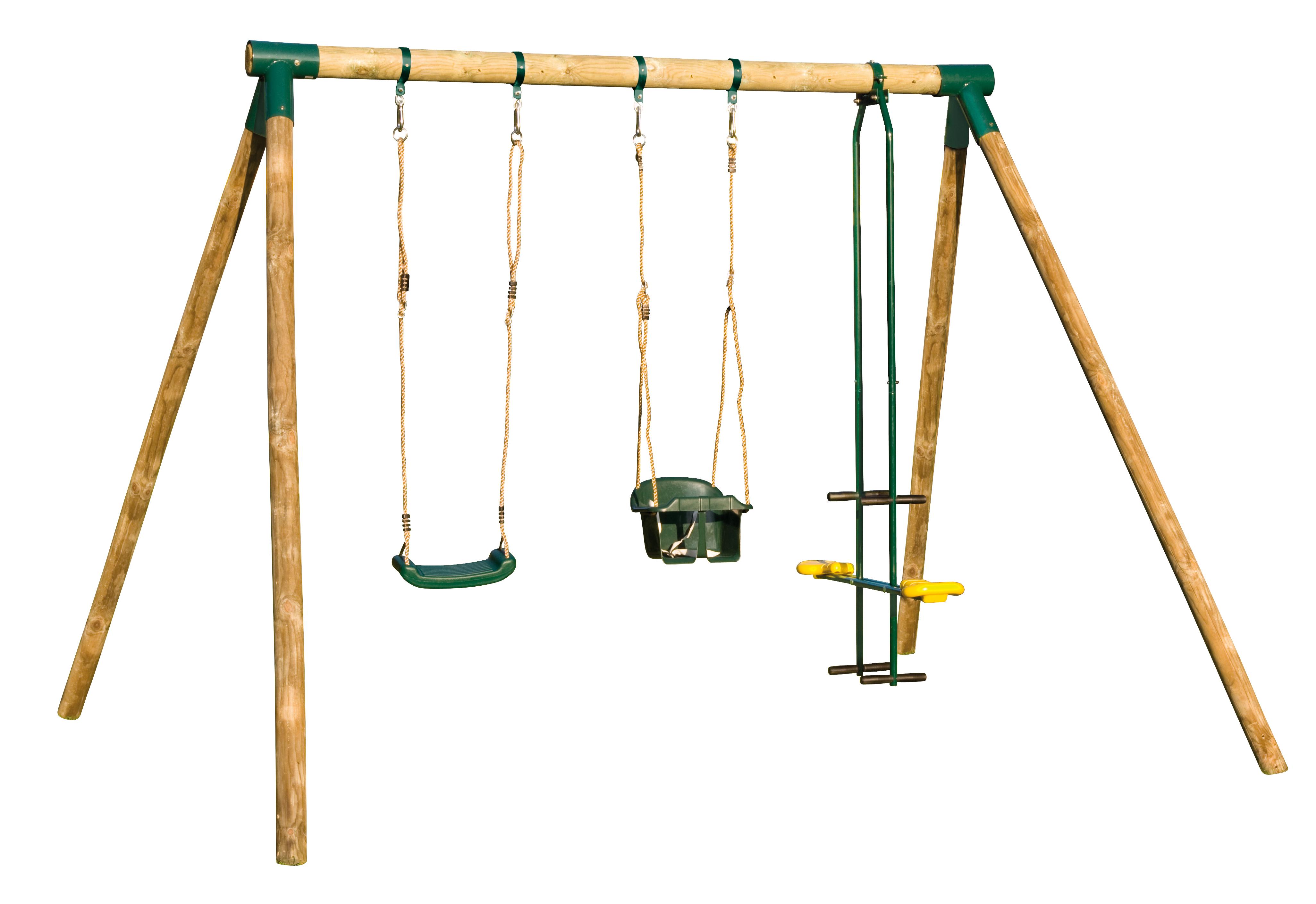 Balancoire bois bebe abri de jardin et balancoire id e - Portique balancoire en fer ...