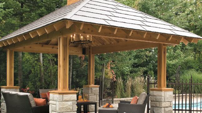 Pavillon en bois pour jardin - Abri de jardin et balancoire idée