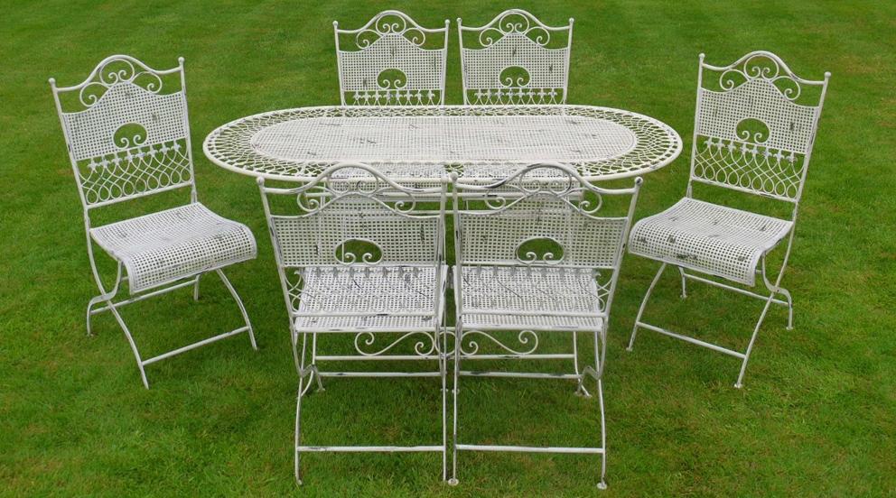 Table de salon de jardin fer forgé - Abri de jardin et balancoire idée