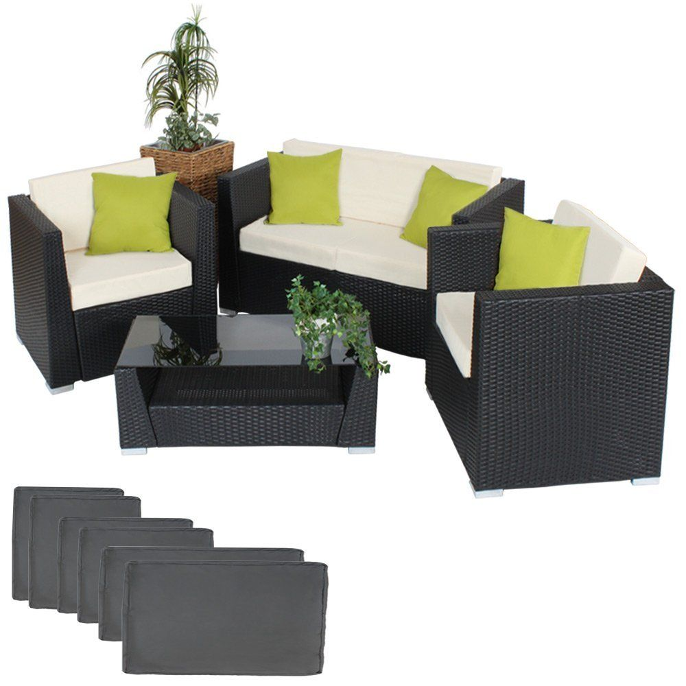 Salon de jardin en resine tressee luxe poly rotin noir ...