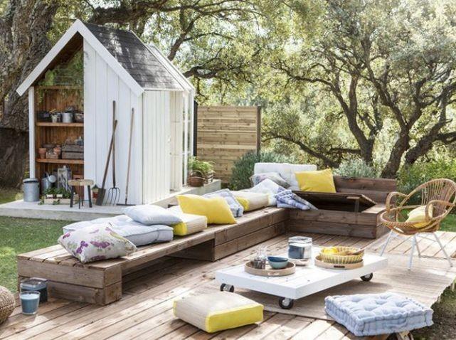 Salon de jardin coussin couleur - Abri de jardin et balancoire idée
