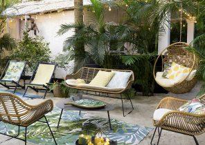 Salon de jardin en bois rectangulaire - Abri de jardin et balancoire ...