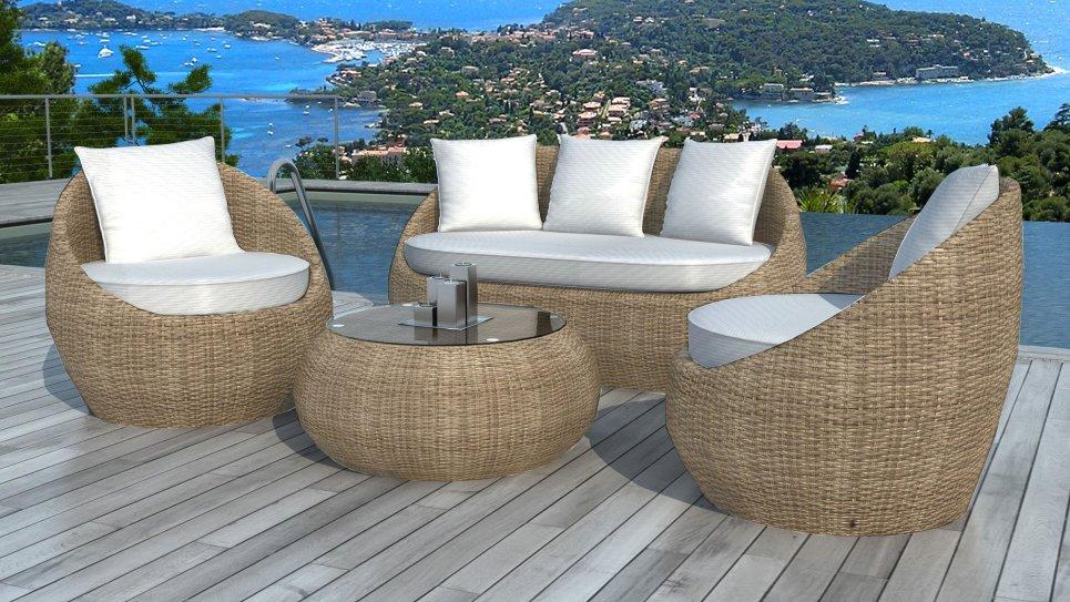 Table de salon de jardin en rotin - Abri de jardin et balancoire idée
