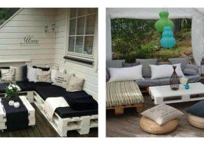 Salon de jardin en bambou couvert - Abri de jardin et balancoire idée