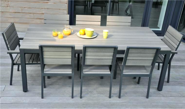 Table salon de jardin couleur taupe - Abri de jardin et balancoire idée
