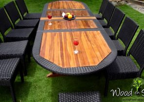 Salon de jardin bois table ronde - Abri de jardin et balancoire idée