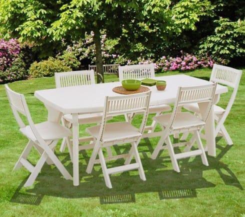 Table salon de jardin pvc blanc - Abri de jardin et balancoire idée