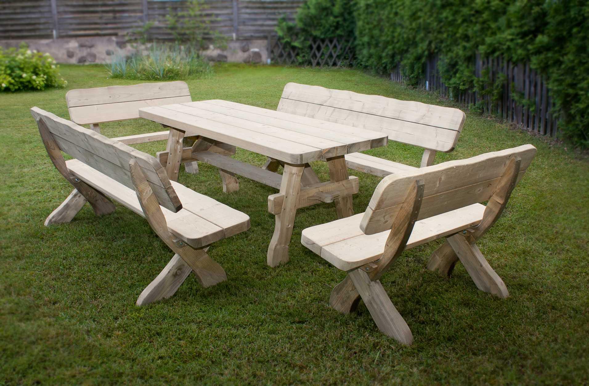 Salon de jardin bois massif - Abri de jardin et balancoire idée