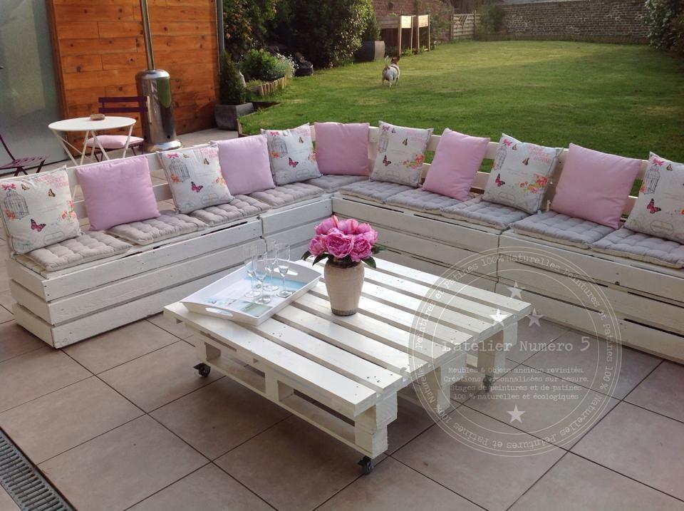 Salon de jardin palette blanc - Abri de jardin et balancoire idée
