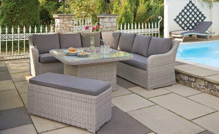 Salon de jardin d\'angle avec table haute - Abri de jardin et ...