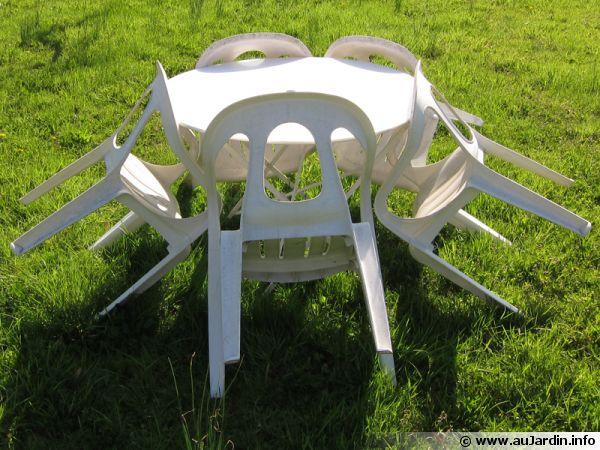 Nettoyer salon de jardin en pvc blanc avec du bicarbonate - Abri de ...