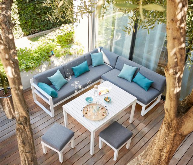 Salon de jardin sur terrasse bois - Abri de jardin et balancoire idée