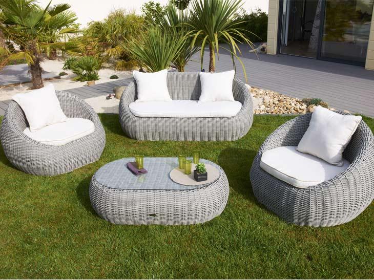 Salon de jardin rotin tressé blanc - Abri de jardin et balancoire idée