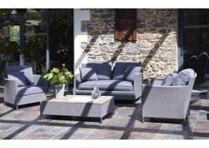 Table salon de jardin en pierre de lave - Abri de jardin et ...