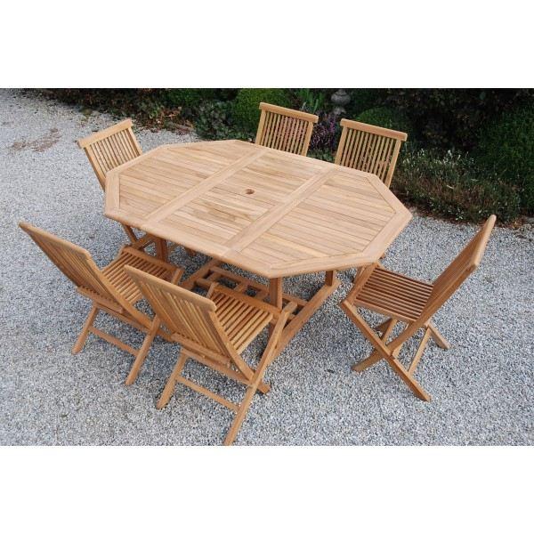 Salon de jardin teck table octogonale - Abri de jardin et ...
