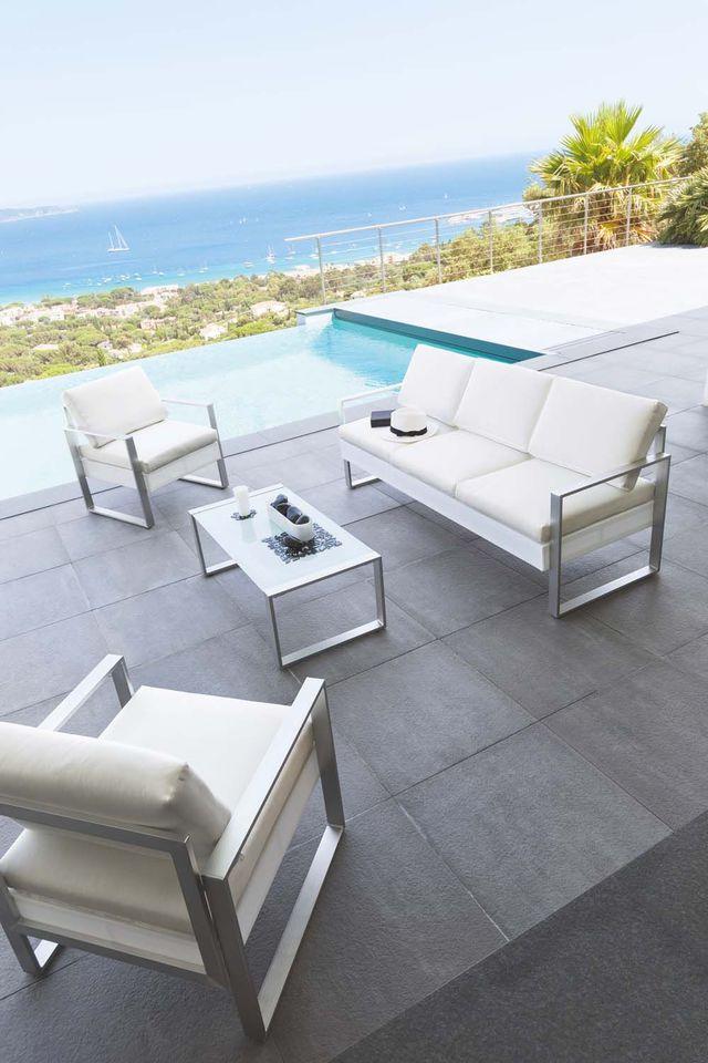 Salon de jardin blanc moderne - Abri de jardin et balancoire ...