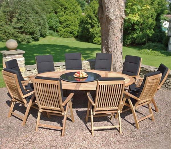 Salon de jardin rond bois - Abri de jardin et balancoire idée