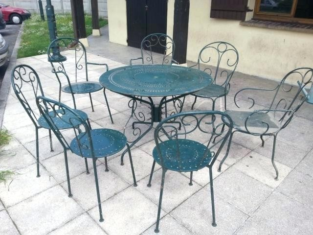 Salon de jardin en fer de couleur - Abri de jardin et ...