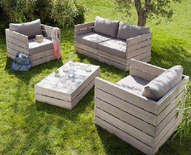 Salon de jardin en bois fait maison - Abri de jardin et ...