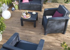 Salon de jardin bois composite - Abri de jardin et balancoire idée