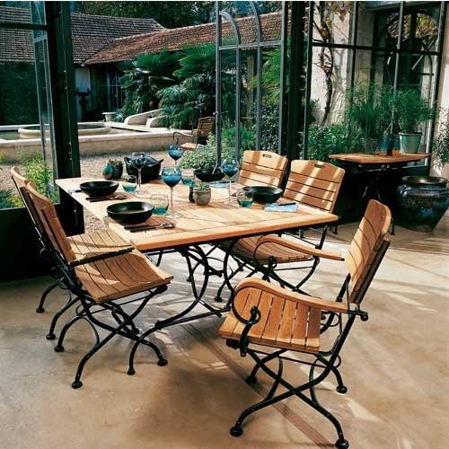 Mobilier de jardin fer forgé et bois - Abri de jardin et balancoire idée