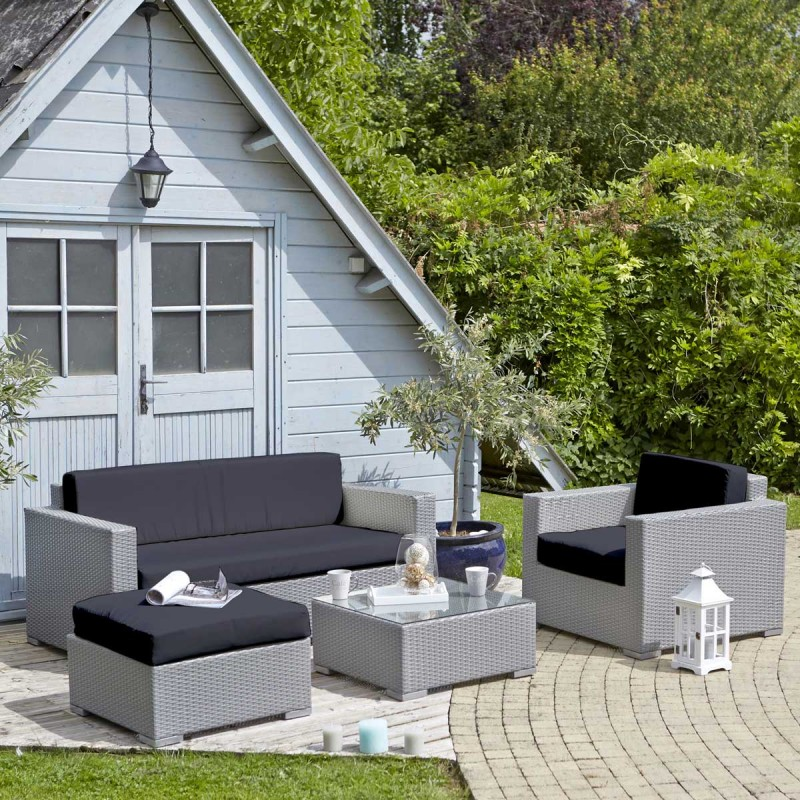 Salon de jardin en resine tressee gris clair - Abri de jardin et ...