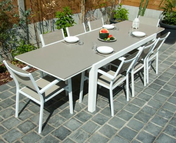 Mobilier de jardin aluminium blanc - Abri de jardin et balancoire idée