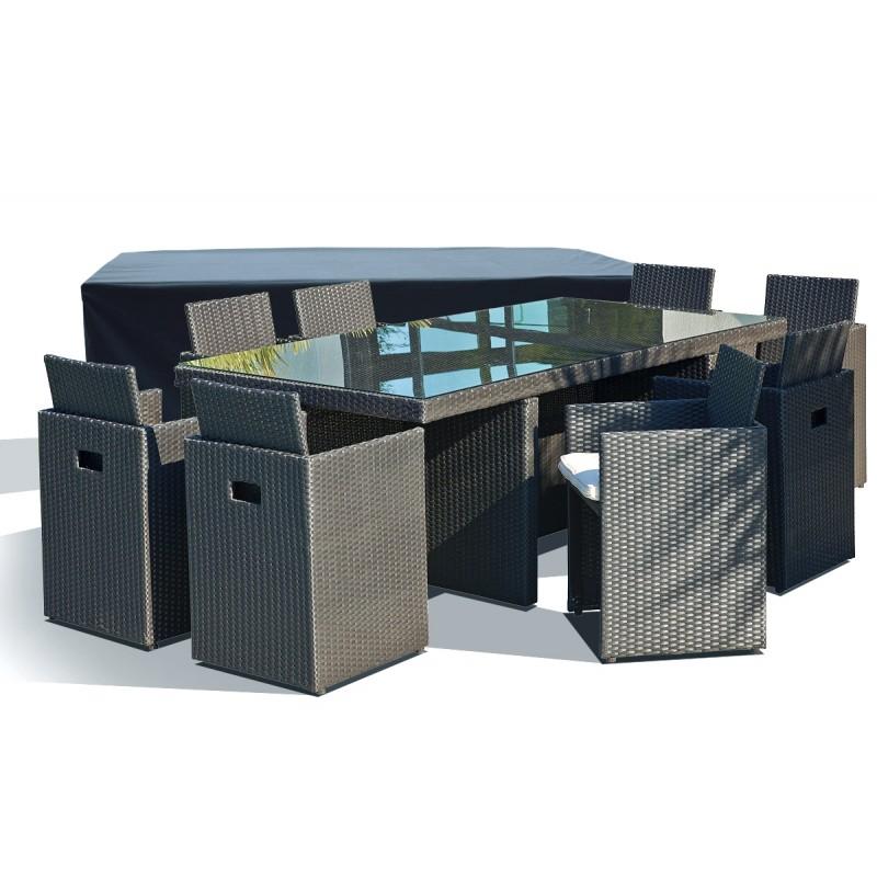 Salon de jardin table résine tressée avec 6 fauteuils encastrables