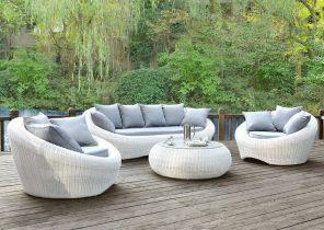 Salon de jardin rond blanc - Abri de jardin et balancoire idée