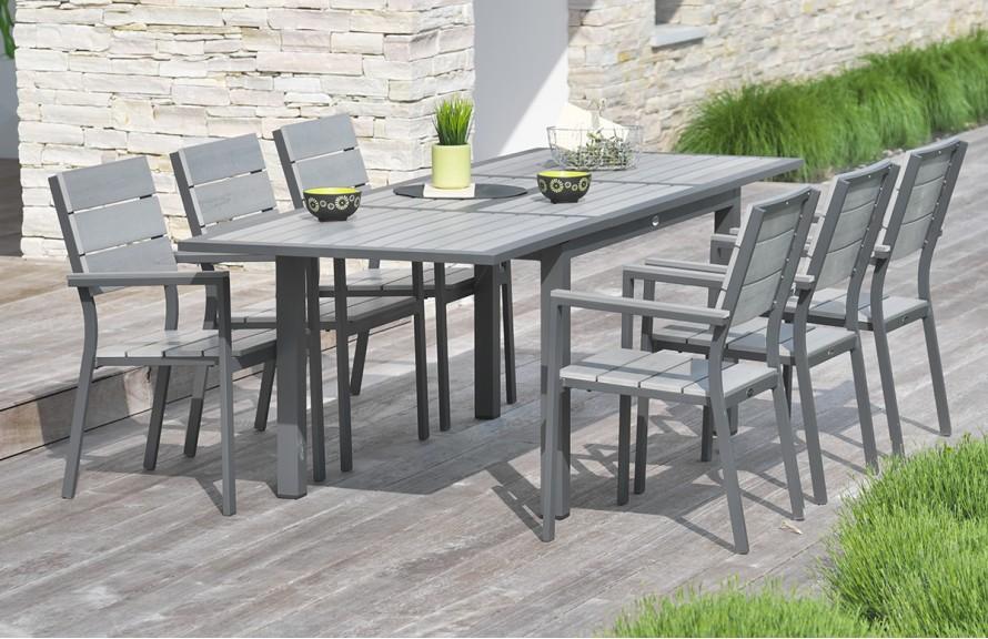 Table salon de jardin alu et composite - Abri de jardin et ...