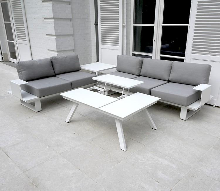 Salon de jardin bas en aluminium gris - Abri de jardin et ...