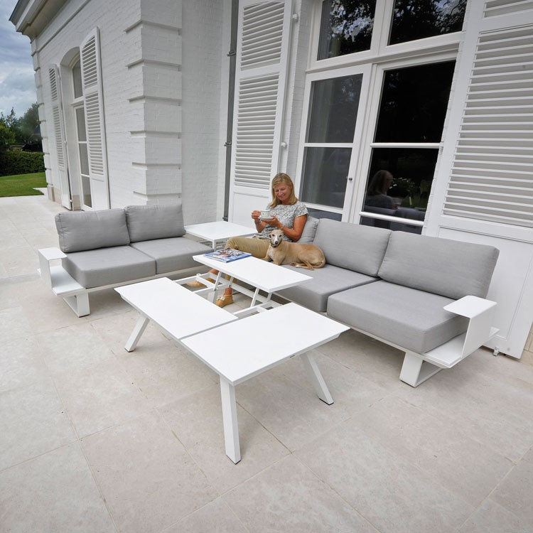 Salon de jardin blanc coussin gris - Abri de jardin et balancoire idée