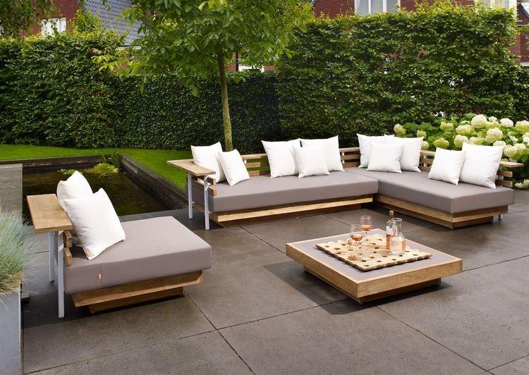 Salon de jardin bois sofa eivissa coussin taupe - Abri de jardin et ...