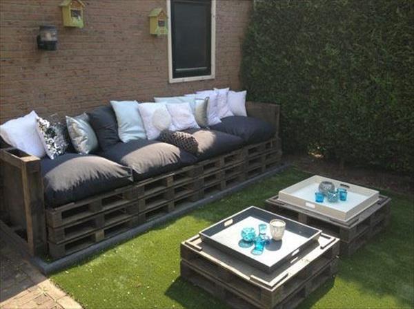 Salon de jardin palette gris - Abri de jardin et balancoire idée