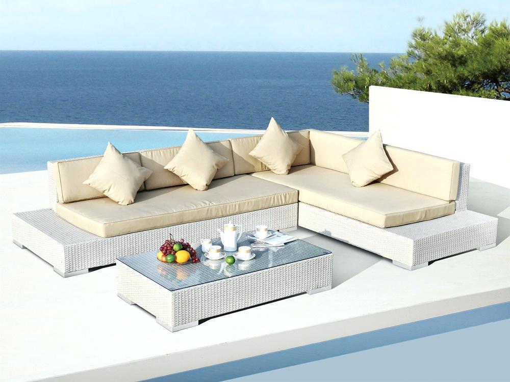 Lounge - salon de jardin en résine tressée - blanc - Abri de ...