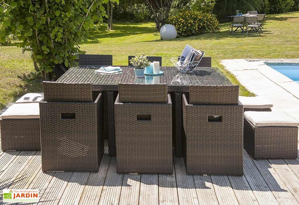 Salon de jardin table résine tressée avec 4 fauteuils ...