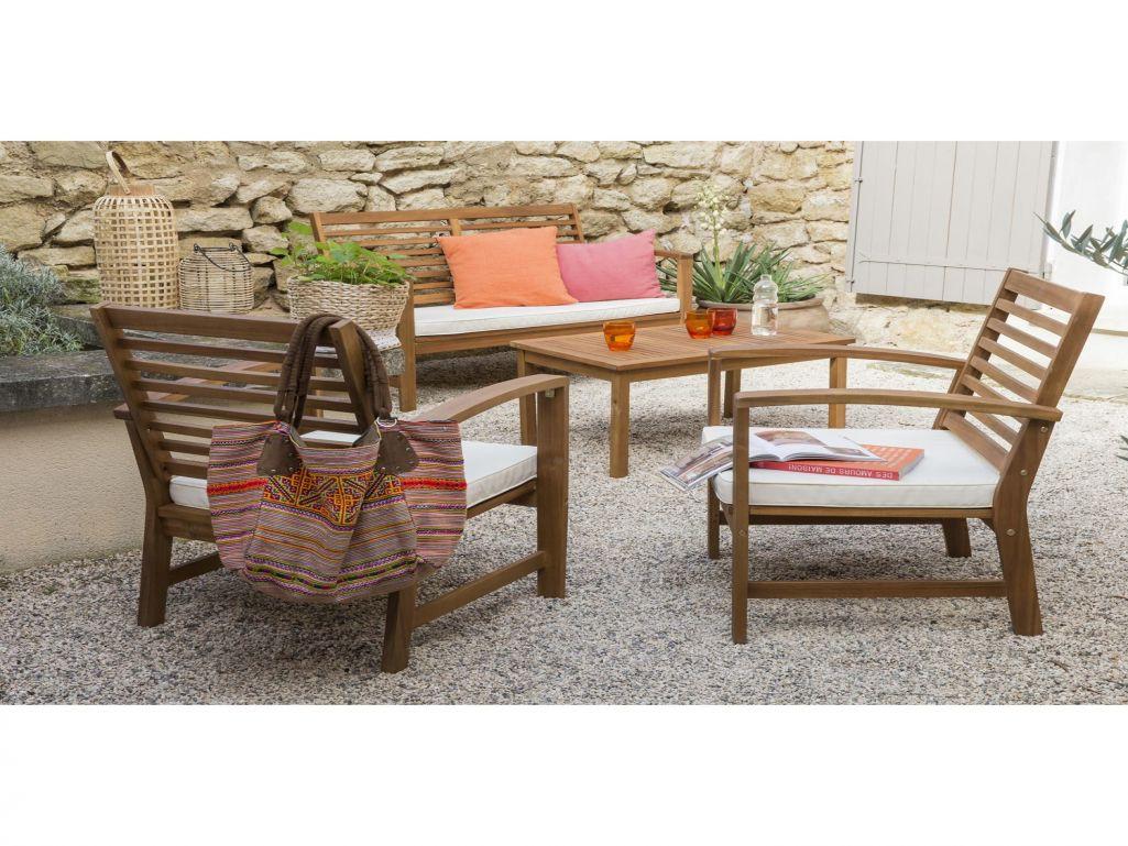 Salon bas de jardin en bois exotique - Abri de jardin et ...