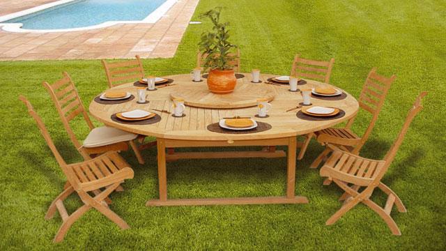 salon de jardin en teck avec table ronde abri de jardin. Black Bedroom Furniture Sets. Home Design Ideas