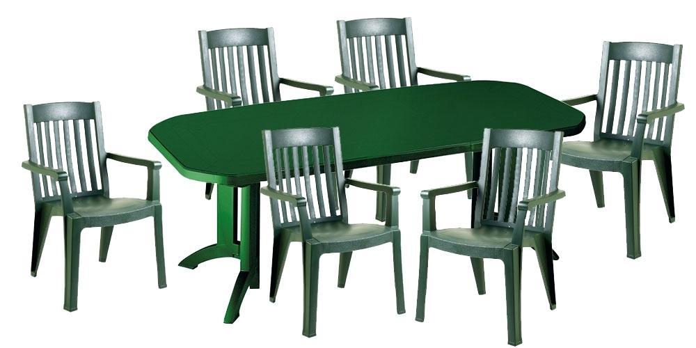 Table salon de jardin pvc vert - Abri de jardin et ...