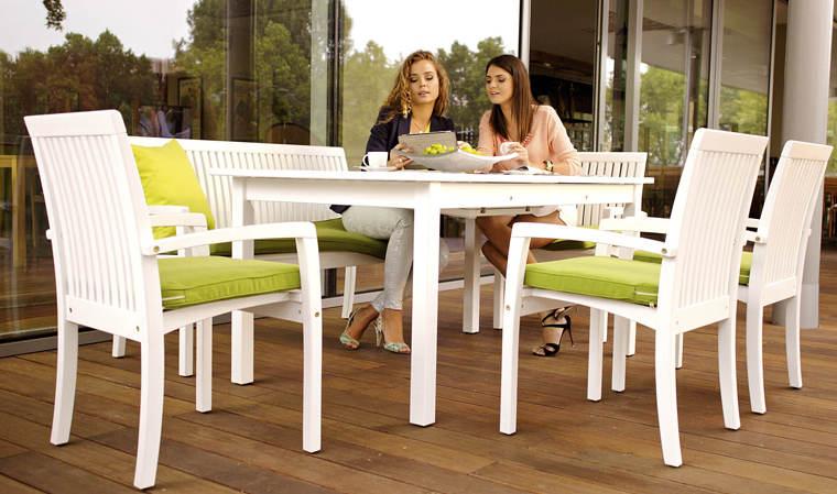 Salon de jardin en bois blanc - Abri de jardin et balancoire idée
